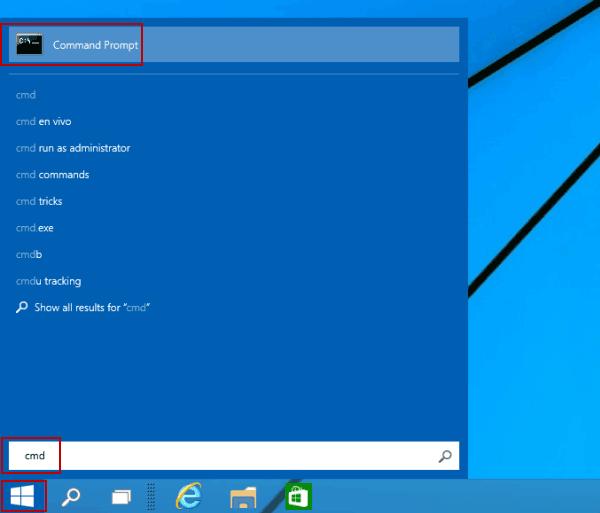 """WINDOWS: Sök efter """"cmd"""" i sökfältet på Start."""