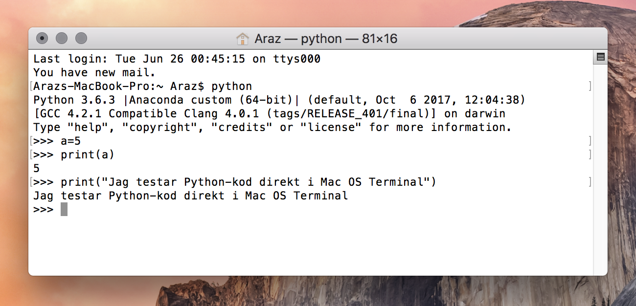 Python direkt i Mac OS Terminal.