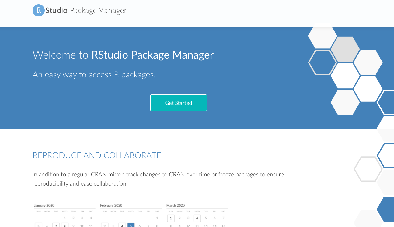 The homepage of the public package manager site