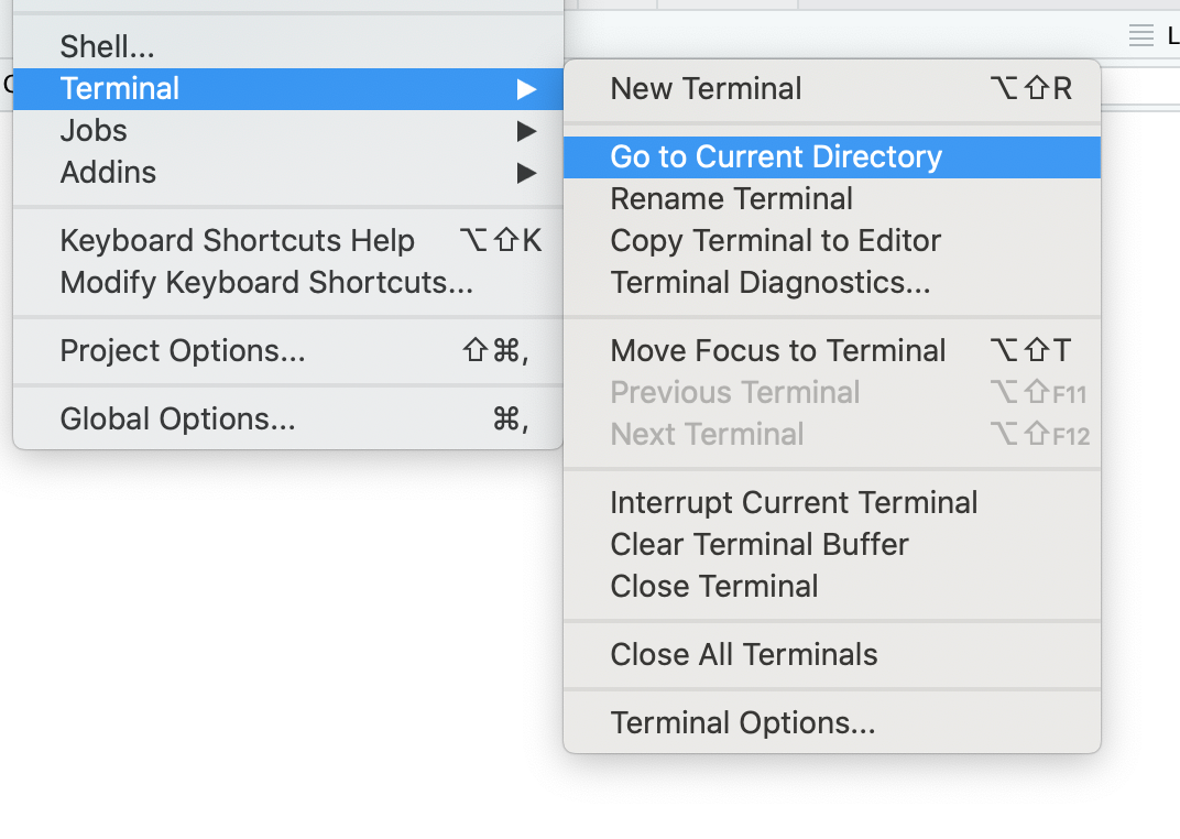 Menu showing new commands for working with directories in the Terminal